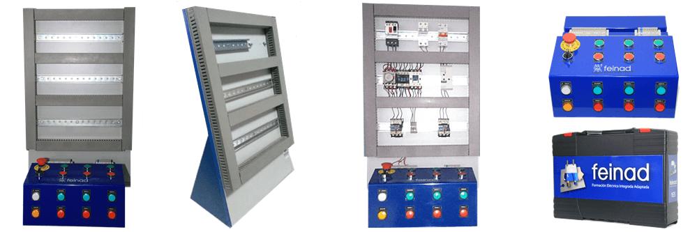 Detalle del entrenador industrial de FEINAD, con su soporte y cuadro de mandos