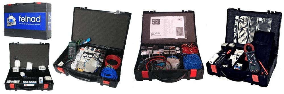 Detalle de los maletines de almacenaje de los entrenadores industriales de FEINAD, con varios modelos de diferentes capacidades