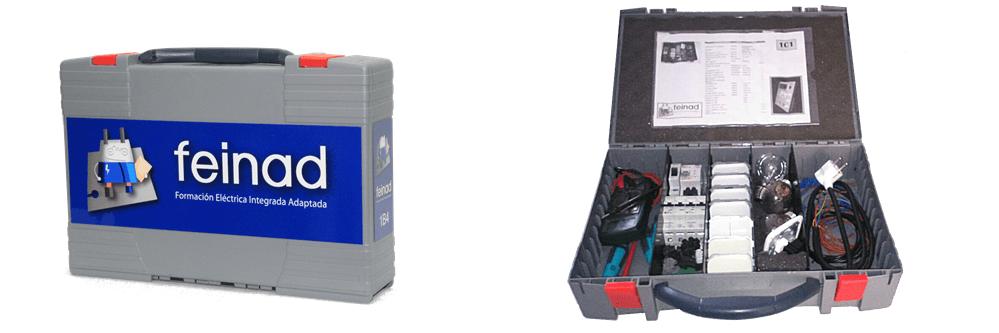 Detalle del maletín de almacenaje del entrenador vivienda de FEINAD, abierto y cerrado